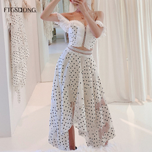 FTGSDLONG New Style Women Runway Sets 2019 Party Skirt Crop Top Suit Vintage Sexy Mini Tops + Ankle Length Polka Dot Skirts
