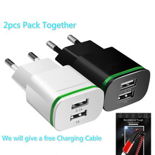 2pcs Pack Phone Charger EU US Plug 2 usb ports 5V 2A Wall Adapter USB with free Charging Cable universal for andriod ios