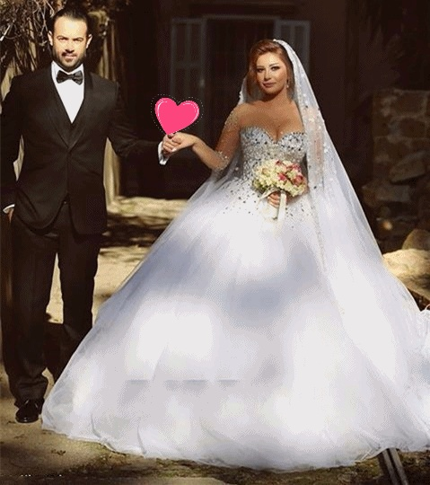 Clic Style White Bridal Veils Crystal Beaded Princess Long Wedding Veil Bride Accessories