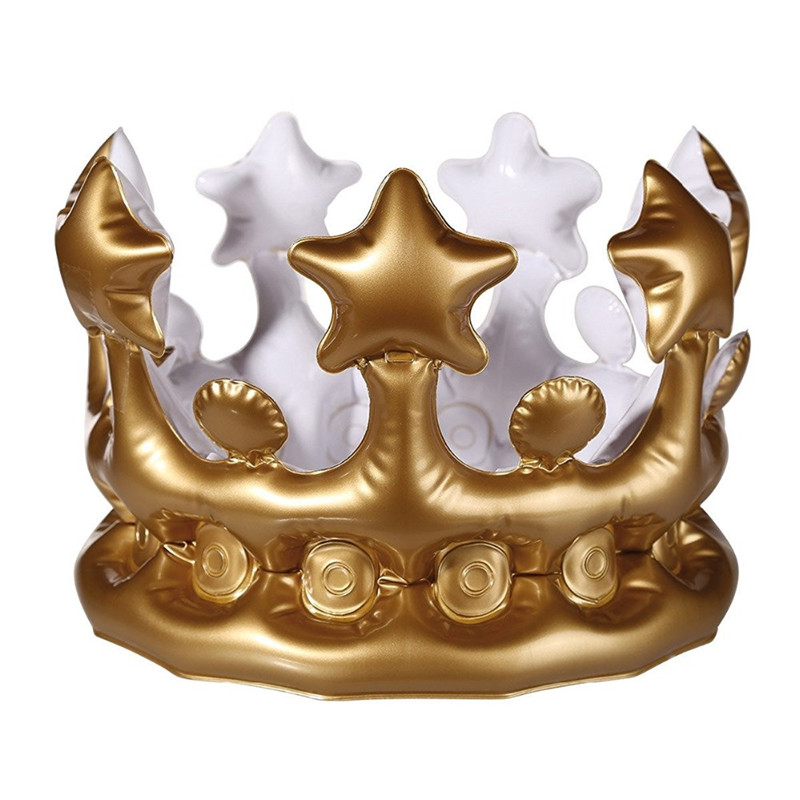 Prince Princess Inflatable Crown Kids Birthday Halloween Costumes Party Hats DIY Inflated Cosplay Tools Stage Props Supplies