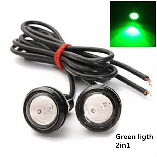 2* 12V Car Motorcycle 1.5W LED Eagle Eye Daytime Running DRL Tail Light Lamp Backup Green/Yellwo 23mm led eagle eye white daytime running drl tail light car auto motorcycle truck bus 12v 24v 9w parking lamp