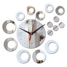 Mirror Circle-Decor Wall-Watches Face-Needle Acrylic-Material Quartz Living-Room Diy