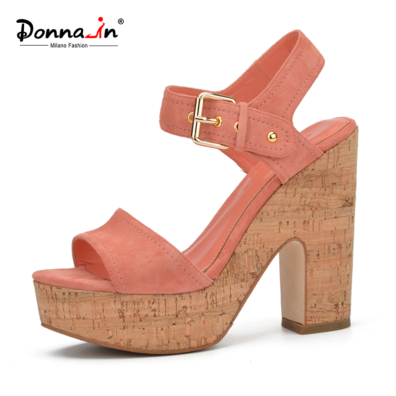 ФОТО Donna-in 2017 New style summer shoes Fashion open toe square heel sandals Genuine leather Women Shoes Platform Sandals