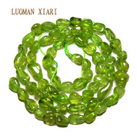 Irregular Gravel Straight Hole Natural Peridot Stone Beads For Jewelry Making 4 6 Mm DIY Bracelet