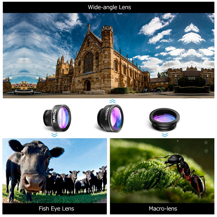 VICTSING 3-in-1 Phone Camera Lens Kit Aluminum Clip-On 180 Degree Fisheye Lens + 0.65X Wide Angle + 10X Macro Lens For iPhone 3