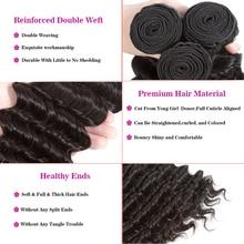 Brazilian Virgin Hair Bundles With Closure Deep Wave Hair Weave Bundles With Closure Human Hair Natural Color