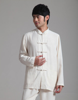 Hot Selling Beige Vintage Chinese Men S Linen Kung Fu Shirt Long Sleeve Tang Suit Size