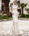 Dreagel New Arrival Elegant Alta Neck Mulheres Mermaid Vestido de Noiva 2017 de Alta Qualidade Do Laço Apliques Escova de Trem Vestido de Noiva