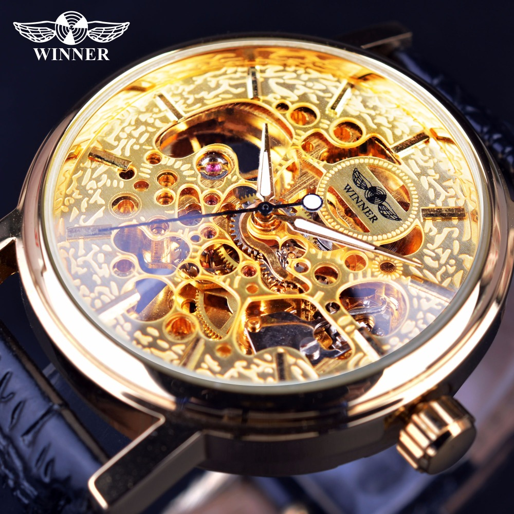 Winner 2017 Classic Design Transparent Golden Mechanical Movement Inside Mens Watches Top Brand Luxury Skeleton Watch Clock Men winner classic retro design transparent golden case back mens watches top brand luxury automatic male mechanical skeleton watch