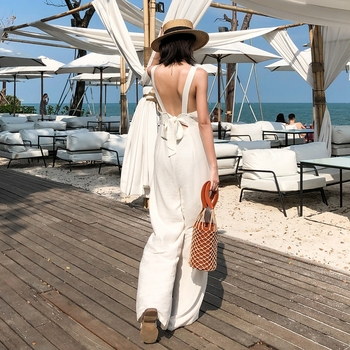 Fashion Women Bodycon Hot Backless Summer Jumpsuit  Sleeveless Playsuit beach Wide Leg Solid Party club Holiday Romper viianles new women casual wide leg jumpsuit fashion ladies summer cotton loose playsuit bodycon party trousers jumpsuit