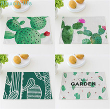 Cactus Placemat Cotton Linen Art Square Western Insulation Pad Anti-scalding Table Mat Household Items