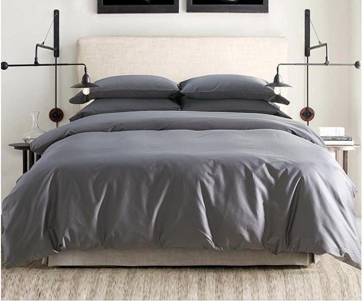 Solid Grey Egyptian Cotton Sheets Bedding Sets King Queen Size Quilt Duvet  Cover Bed Bedsheet Bedspreads Linen Luxury 4pcs 2015 In Bedding Sets From  Home ...