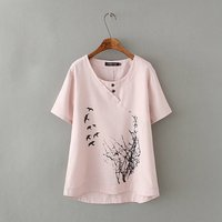 Plus Size XXXL Linen Cotton Appliques Asymmetrical Summer Women Shirt 2017 Fashion Short Sleeve Flower Lady