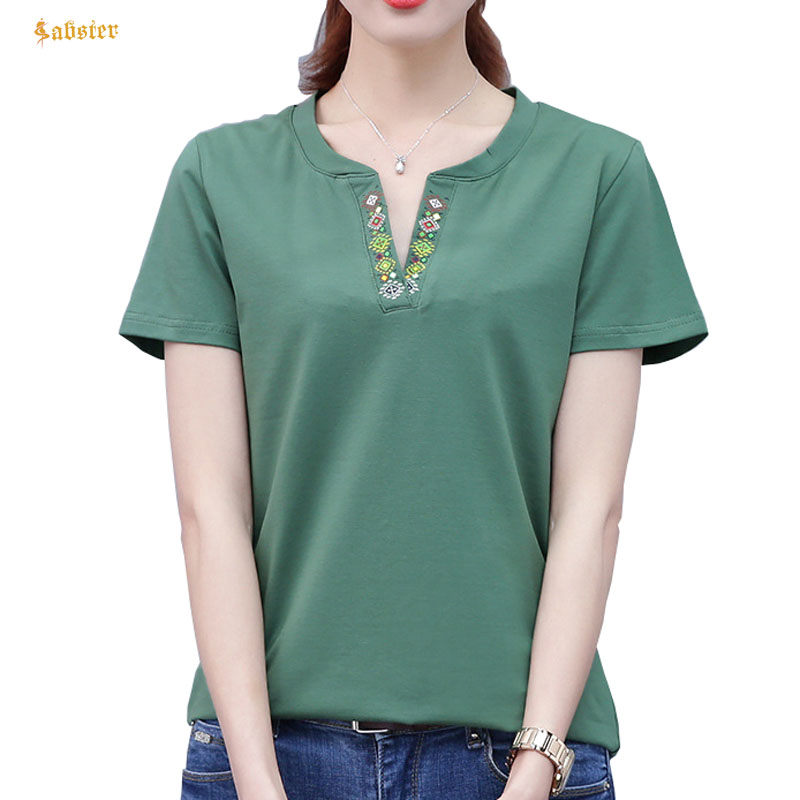 Vêtements Femmes Top Femmes taille Coton Top 2018 shirt shirts plus V T T Femelle 6XL Été shirt Pour XZ053 L Lady T Imprimé la Col qgqvT7
