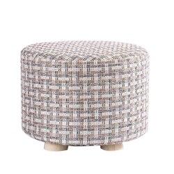 Небольшой табурет деревянные Пуфики с льняной хлопковой крышкой обеденные скамейки мебель для дома работы диван животное круглое кресло