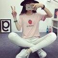 Новый 2016 летний Корейский свободные короткими рукавами Футболки женский мультфильм клубника оптовая camiseta femenina студент футболка TS21