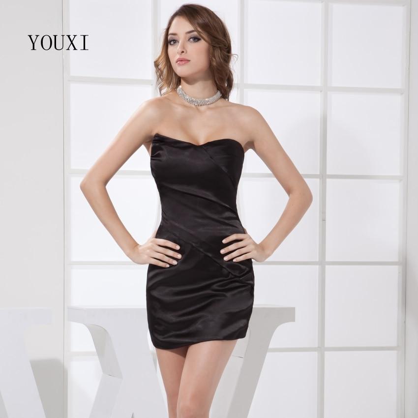sexy sweetheart black prom dresses 2019 hot satin short