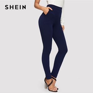 Image 3 - SHEIN Blue Pocket Side Solid Textured Elastic Waist Skinny Pants 2019 Casual Spring Women Mid Waist Tapered/Carrot Pants