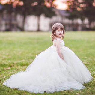 White Miniature Bride Flower Dress With Train For Wedding Evening Princess Baby Christening Tutu Customize In Dresses From