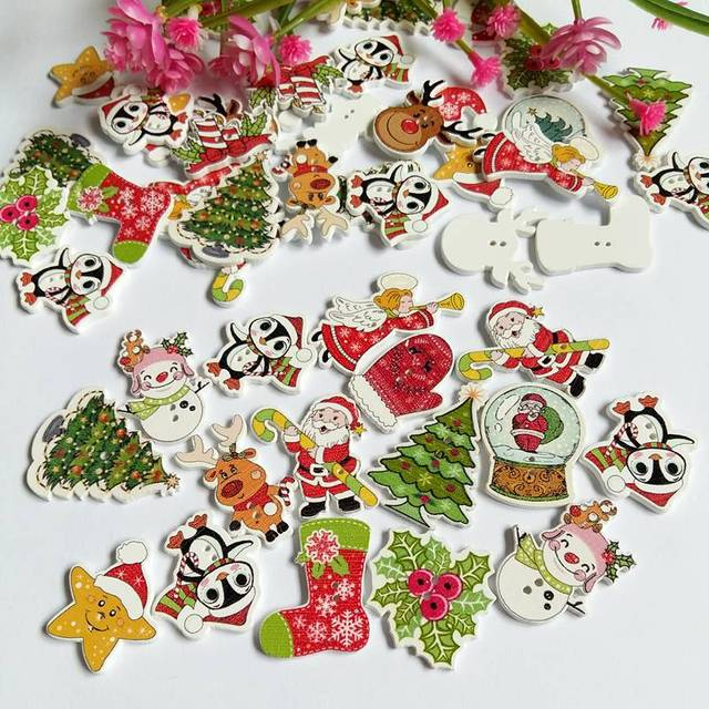 new 100pcs bulk mixed christmas buttons wood button sewing accessories decoration buttons handmade scrapbooking for craft - Christmas Buttons
