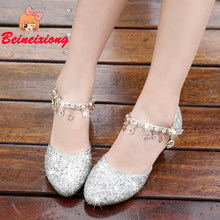 Girl s high heel princess shoes 2018 new 6-10 year old children s 8 little  girl s crystal shoes 9 children s performance shoes 0a2078eaab24