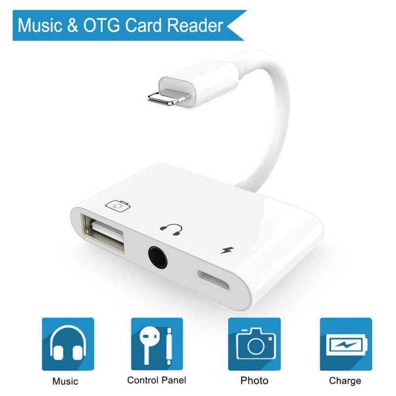3 In 1 Adapter For Lightning To 3.5mm Audio OTG USB 3 Camera Reader Adapter With Charge Port For  IPhoneX XS XR IPad/iPod