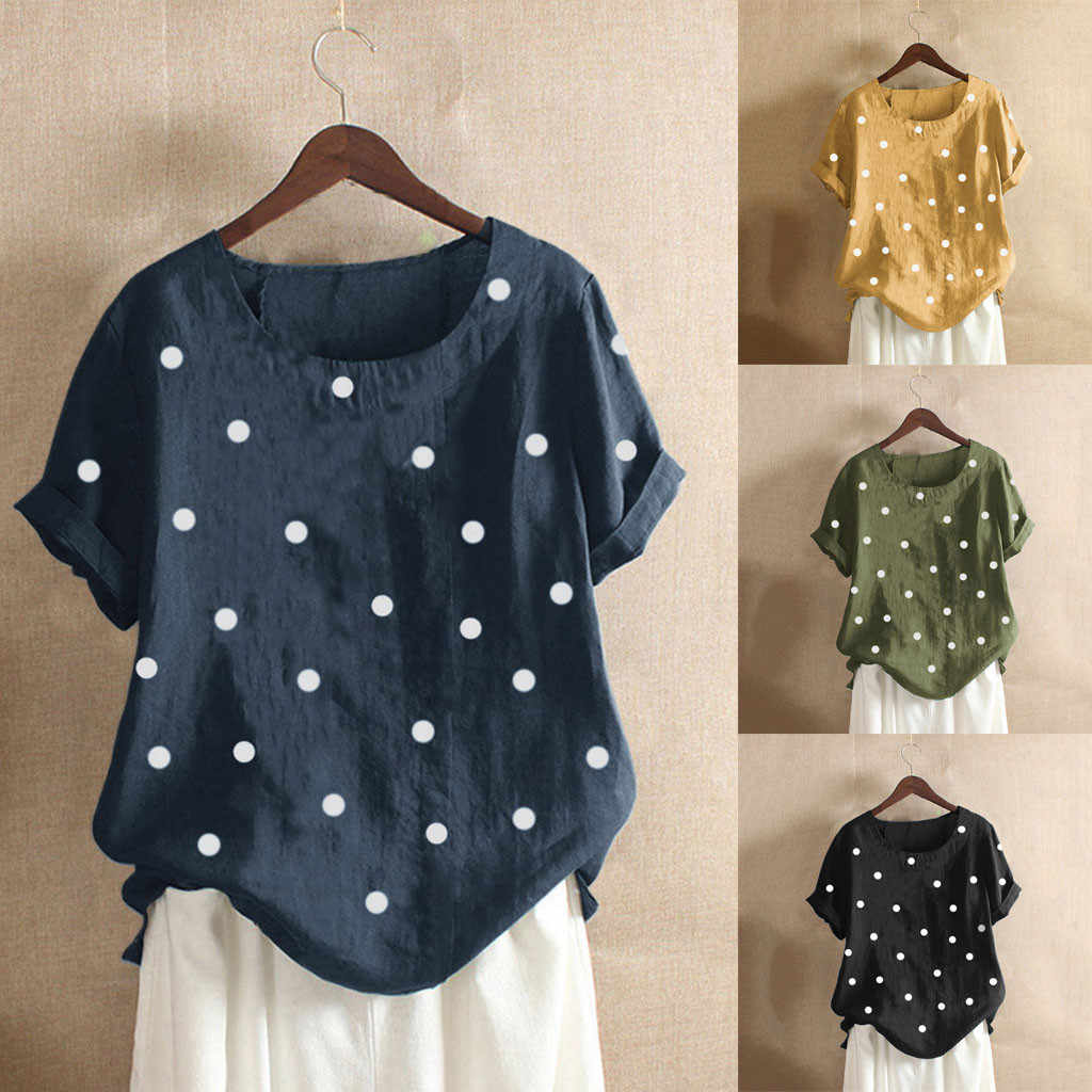 Women Casual Plus Size O-Neck Dot Printed Loose Button Tunic Shirt Blouse Tops Plus Size Basic Blus