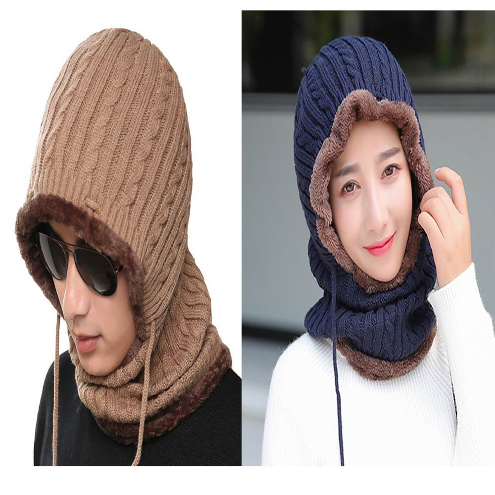 Kagenmo Unisex Hat Scarf One-Piece Cold Autumn And Winter Thick Fluff Cap Adjustable Rope Winter Riding Driving Casual Sport