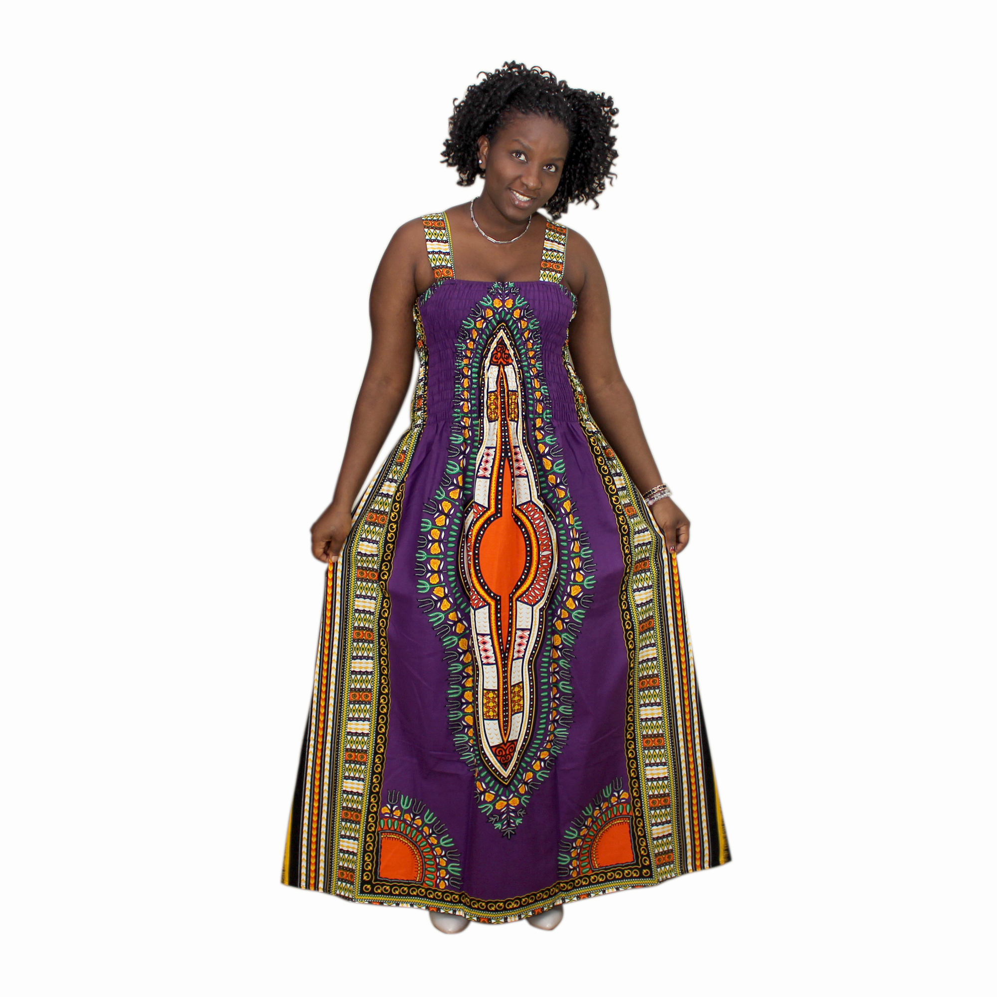Strap African Traditional Dashiki Print Bohemian Purple Cotton African Dresses For Women