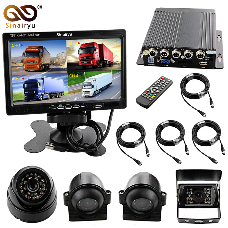 Sinairyu DVR Monitor Camera Kit 4 Split 7 TFT Digital Video Recording Display + 4PCS Front Rear Side Inside Cameras for Vehicle split side tee