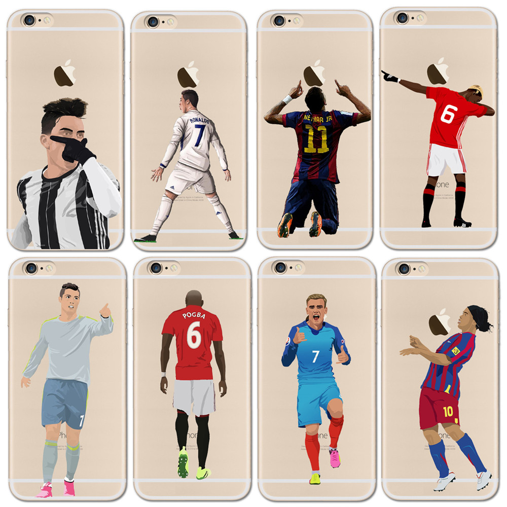 Clear Soft Phone Case Cover For iphone 6 6S 7 8Plus 5S Silicone Coque Sport Football Soccer Star Cristiano Ronaldo Messi pogba