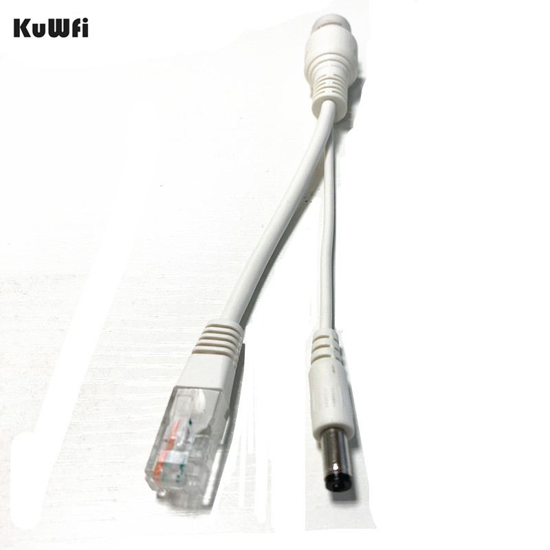 2Pcs KuWFi POE Adapter Cable RJ45 Injector Splitter Kit Passive Power Over Ethernet 12V/48V POE Separator Combiner Power Supply