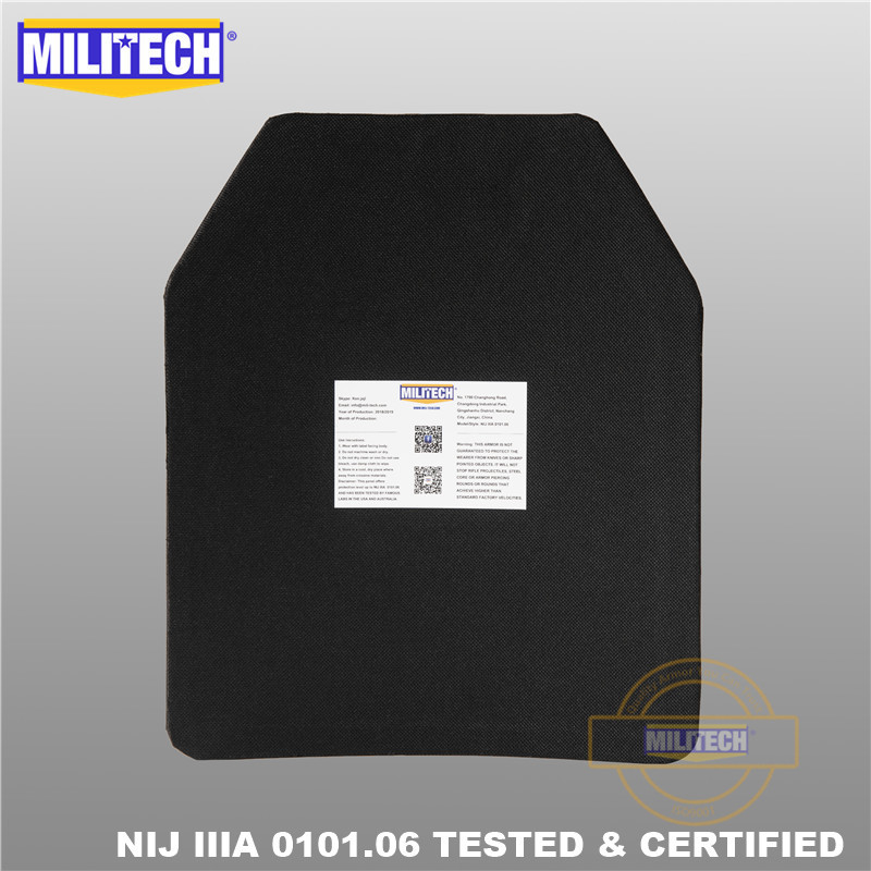 MILITECH 10 x 12 inches Two PCs Pair Ultra Light Weight UHMWPE NIJ IIIA 3A Tested Ballistic PE Plate Bulletproof Backpack Panel