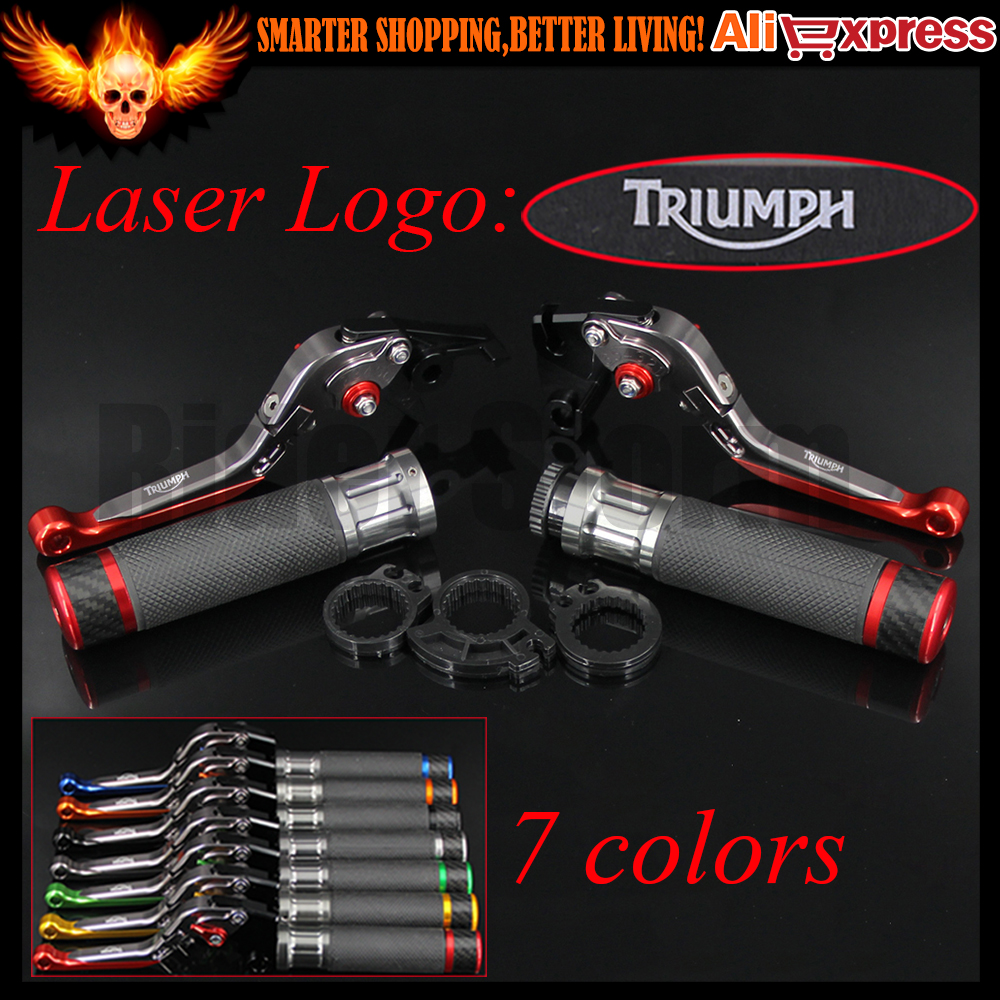 ФОТО 7 Colors Red+Titanium CNC Adjustable Motorcycle Brake Clutch Levers&Handlebar Hand Grips For Triumph SPEED TRIPLE 1050/S 2016