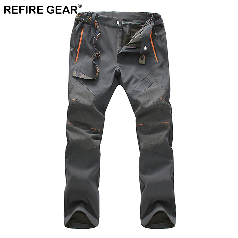 ReFire Gear Autumn Quick Dry Soft Shell Pants Men Waterproof Outdoor Sports Hiking Trekking Pants Climbing Fishing Trousers 5XL