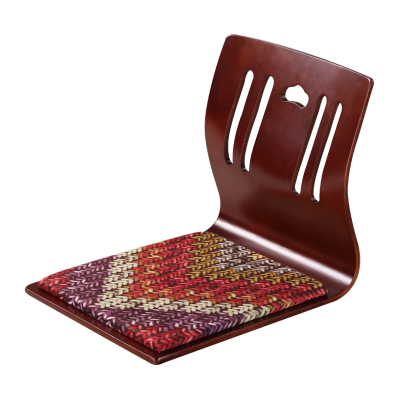 купить (4pcs/lot) Japanese Zaisu Chair Wholesale Brown Finish Velvet Cushion Asian Living Room Furniture Floor Tatami Legless Chair недорого
