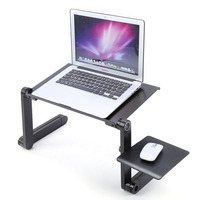 Adjustable Aluminum Laptop Desk Ergonomic Portable TV Bed Lapdesk Tray PC Table Stand Notebook Table Desk Stand with Mouse Pad
