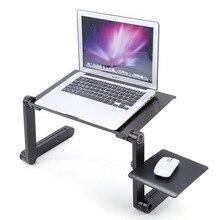 อลูมิเนียมแบบปรับได้แบบพกพาทีวีเตียง Lapdesk ถาด PC ขาตั้งโน้ตบุ๊คตารางโต๊ะขาตั้งแผ่น Pad