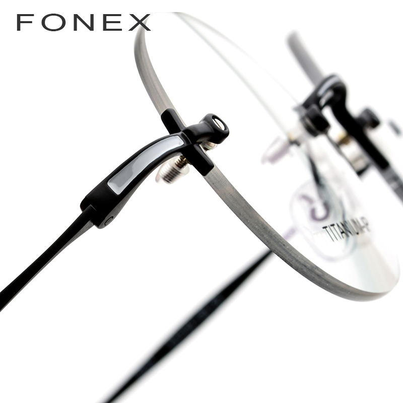 FONEX pur titane sans monture optique lunettes cadre hommes Vintage rond Prescription femmes myopie lunettes pour petit visage 9141 - 5