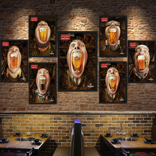 American Retro Cafe Bar Pub Decoration Poster Funny Beer Men Canvas Painting Toilet Living Room Figure Wall Pictures No Frame