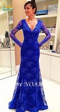 Königsblau Spitze Tiefem V-ausschnitt Abendkleid Long Sleeve Bodenlangen Prom Dresses See Obwohl Zurück Formale Party Abendkleider