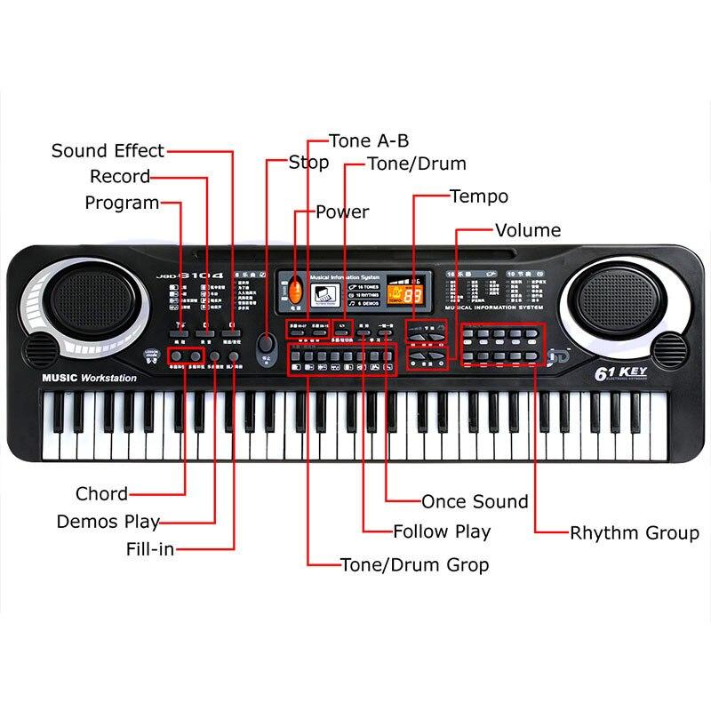 61 touches Numérique Musique Électronique Clavier Vocal Jouets Piano Électrique Professionnel Instruments de Musique Jouets Éducatifs - 4