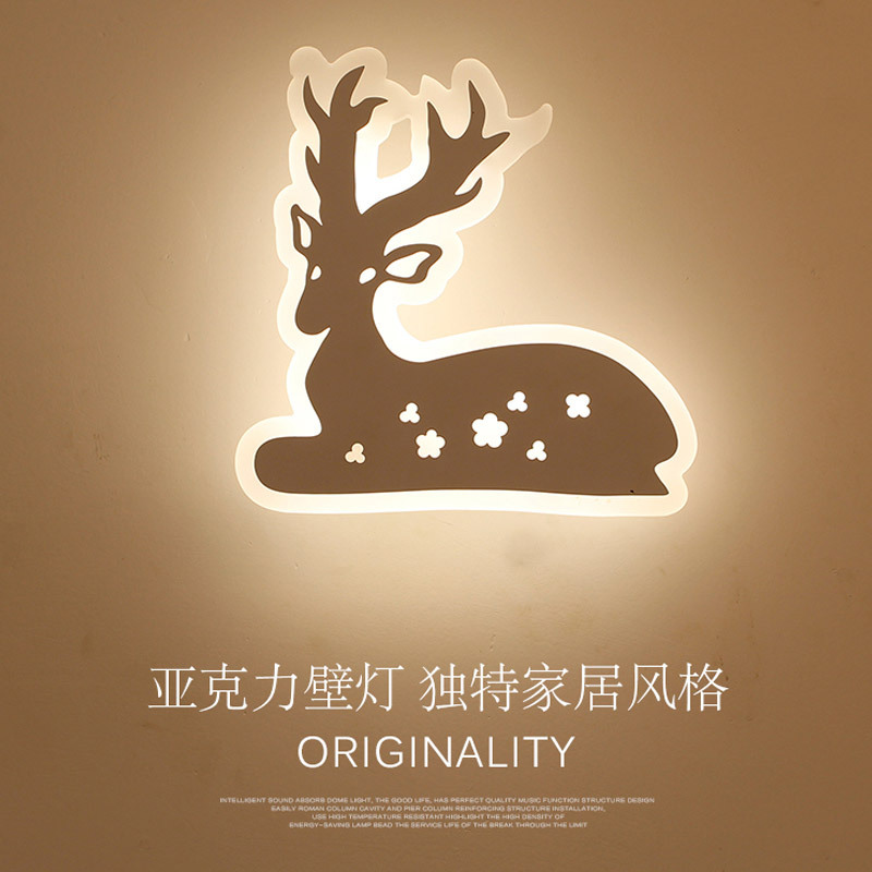 TUDA 21X21cm Free Shipping Creative Sika Deer Shape Carved Wall Lamp Fashion Acrylic Wall Lamp For Bedroom Living Room Wall Lamp lovely smile acrylic wall lamp for