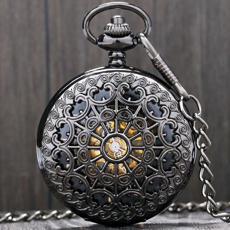 Full Black Cobweb Hollow Case Skeleton Mechanical Hand Wind Pocket Watch Mens Women Big Size China 30cm Gift k colouring women ladies automatic self wind watch hollow skeleton mechanical wristwatch for gift box