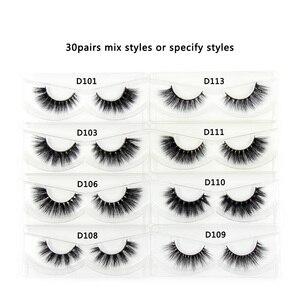 Image 2 - 30 Pairs/Pack Eyelashes 3D Mink Lashes With Tray No Box Hand Made Full Strip Lashes Mink False Eyelashes Makeup eyelashes Fluffy