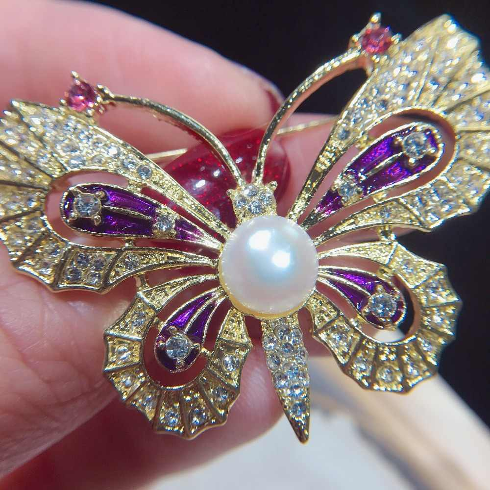 SHDIYAYUN 2019 nuevo broche de perlas de agua dulce Natural broche de mariposa Vintage alfileres simples para mujeres joyería regalo de mujer
