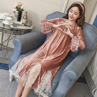 Maternity Clothings Dresses Pregnant Women Lady Soft Dress Elastic Patchwork Long Sleeve Dress for Mother Pink Blue M L XL XXL