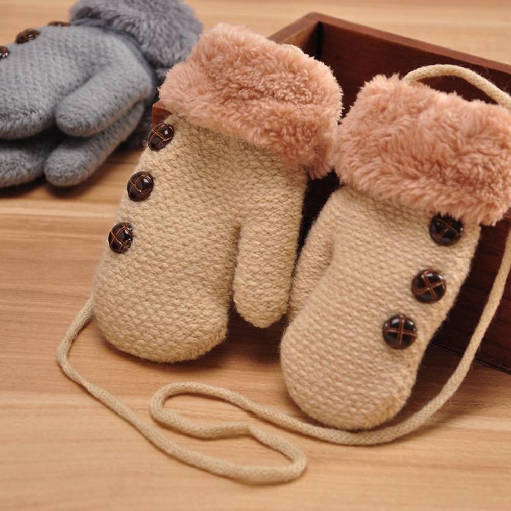 Ideacherry Kids Full Finger Gloves Cute Buttons Print Solid Warm Knitted Girls Winter Boys Children Cashmere