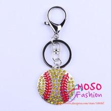 Free Shipping Fashion Jewelry Pendant With Key Rhinestone Cartoon Yellow Baseball Pendant Handmade Necklace Jewelry HSKC-602150