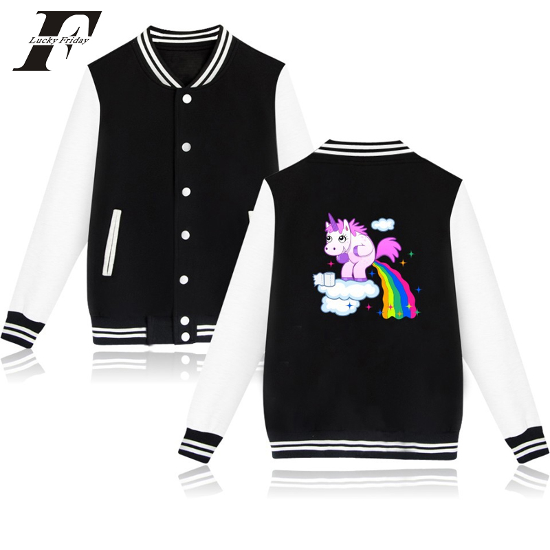 2017 harajuku kawaii casaco feminino Unicorn hit hop Printed Hoodie baseball jacket bomber jacket font b